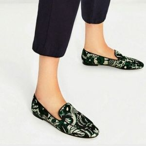 Zara - Black and Green Metallic Floral Loafers